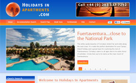 Screenshot of Holidays In Apartments Website